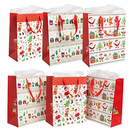 MyGift Assorted Festive Christmas Party Gift Bags and Tissues (Santa Claus, Christmas Trees) - Set of - Festive Santa Bag