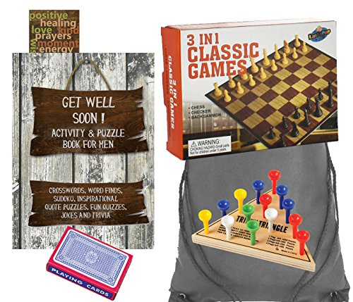 Get Well Gifts for Men - Get Well Soon Activity Book for Men, 3 in I Classic Games Set, Deck of Playing Cards, Triangle Game, Inspirational Bookmark and Drawstring Bag (6 Piece Set)