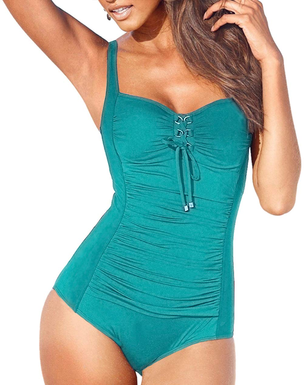 Upopby Women's Vintage Lace up One Piece Swimsuits Monikini Tummy Control Swimwear Green 16