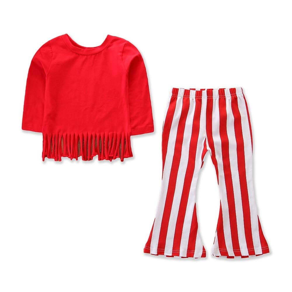 ❤️Mealeaf❤️ Baby Boys and Girls Clothes with Kids Baby Girls Long Sleeves Tassel Tops+Stripe Bell-Bottoms Pants Outfits Sets (2-3 Years Old, Red) meal-leaf