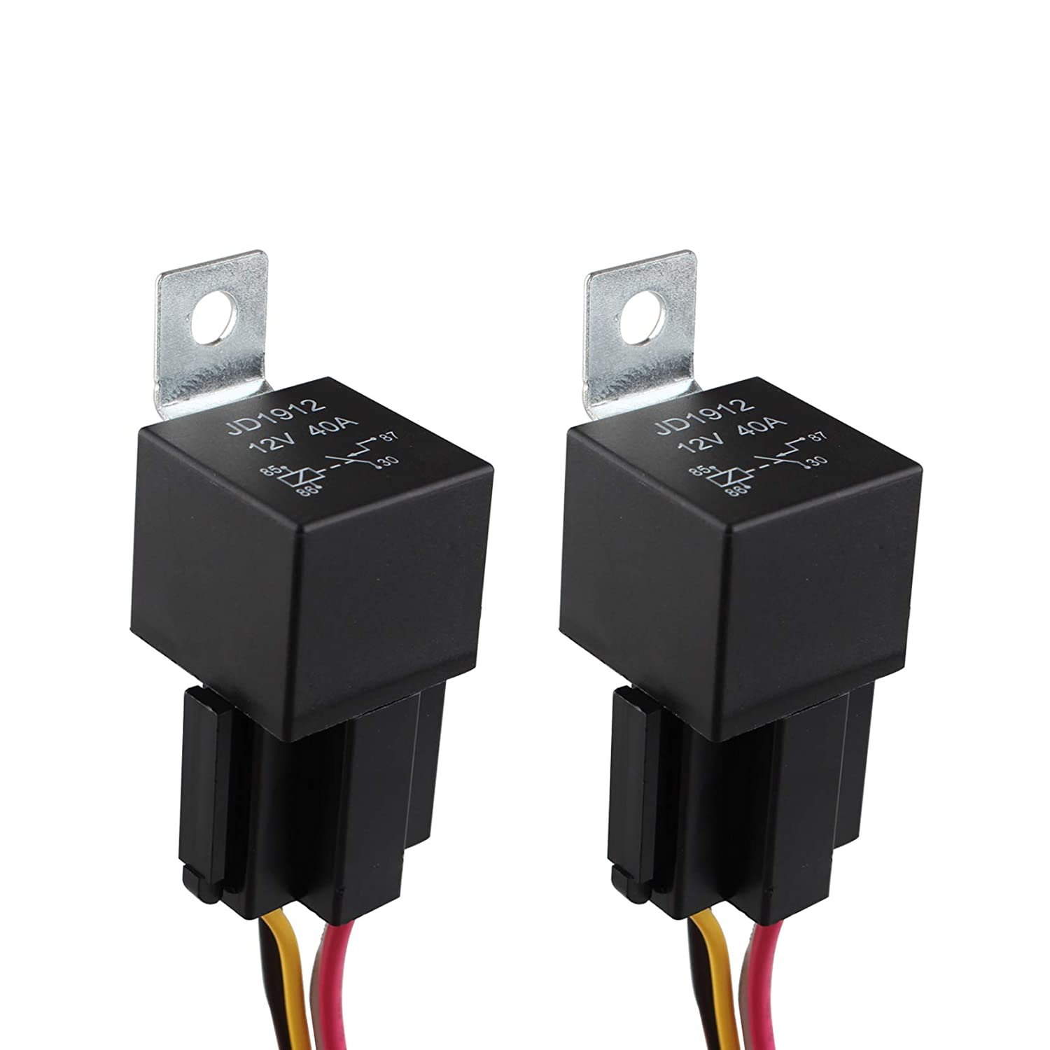 Futheda 2 Pack JD1912 Car Relay Harness 12V 40A 4 Pin SPST Harness Socket with Color-labeled Wires Compatible with Automotive Car Truck Van Motorcycle Boat