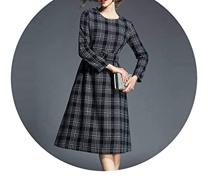 Ladies Office Woolen Plaid Dress Woman Dress Long Sleeve Render Noel Vestido De Invierno K5718,