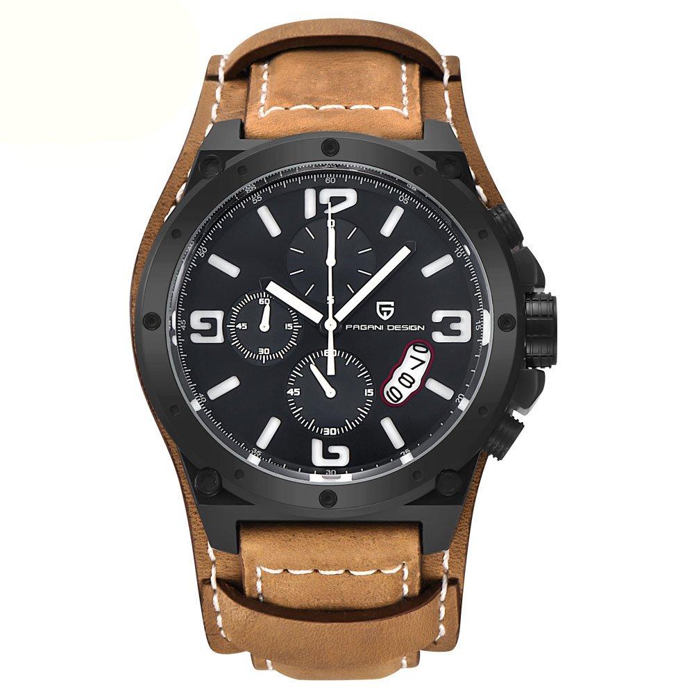 13b0401892515 50 mm Pagani Motif solide Revêtement PVD Blanc marqueurs chronographe montre  à quartz pour homme: Amazon.fr: Montres
