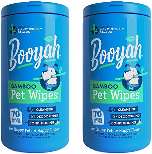 Booyah Tree Free Bamboo Pet Wipes, Hypoallergenic & Deodorizing Cleaning Wipes for Dogs and Cats - Unscented