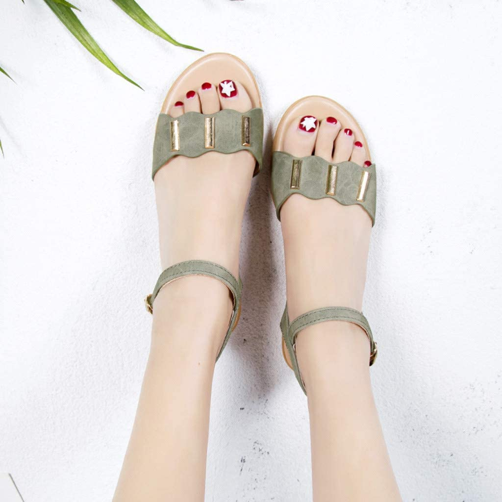 〓COOlCCI〓2019 New Womens Cute Open Toes One Band Ankle Strap Flexible Summer Flat Sandals Beach