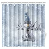 Snowman Shower Curtain InterestPrint Christmas Shower Curtain Set, Smiling Snowman Standing in the Snow Fabric Bathroom Shower Curtain, 72 X 72 Inches Extra Long
