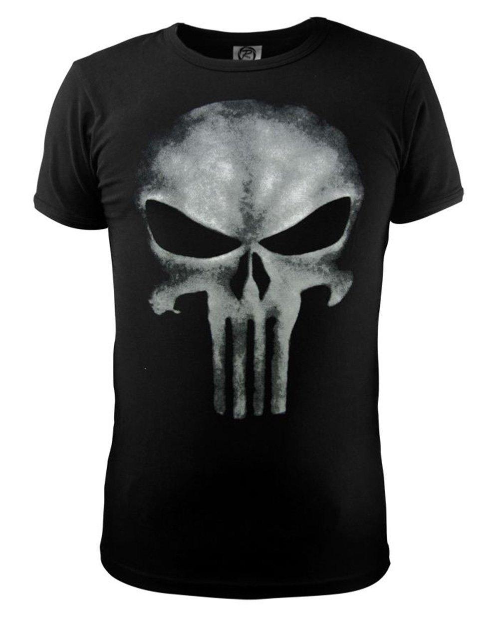 Kalendone the Punisher Skull T Shirt Slim Black O-Neck Short Sleeve Tops Tees Cotton T Shirt for Women Men Slim M Christmas Gift