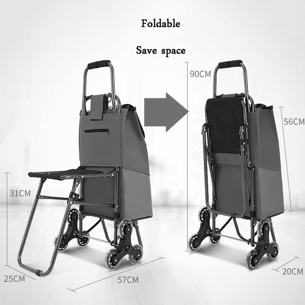 SYF Trolley Shopping Trolley Light Blue Lightweight Stairs Climbing Collapsible Shopping Wagon Grocery Cart Seat Leakproof Baffle A++