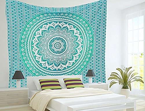 Popular Ombre Tapestry Indian Mandala Wall Art, Hippie Wall Hanging, Bohemian Bedspread By Popular Handicrafts by Popular Handicrafts