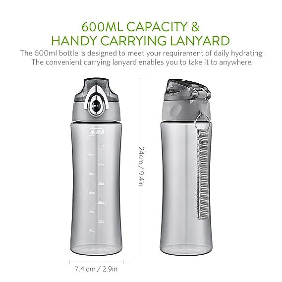 OMorc 600ml Botella de Agua Deporte, Muy Resistente Fabricado Con Un Plástico Libre de BPA No Tóxico, Tiene un Doble Cierre de Seguridad, 1-Click Apertura, ...