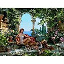 JynXos framed tiger and sex girls DIY painting by numbers kits acrylic painting on canvas hand painted home decor picture artwork