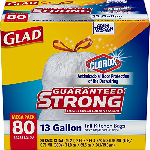 Glad Tall Kitchen Bags with Antimicrobial Protection of the Drawstring from Odors, 13 Gallon, 80 count (Trash Can Kitchen 13 Gallon compare prices)