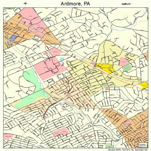 Ardmore Outdoor Wall - Large Street & Road Map of Ardmore, Pennsylvania PA - Printed poster size wall atlas of your home town