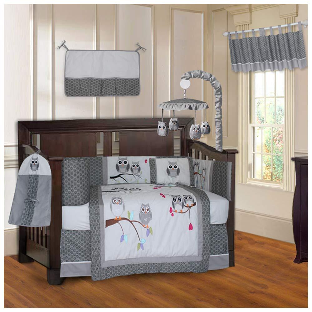 BabyFad Owl Grey 10 Piece Baby Crib Bedding Set