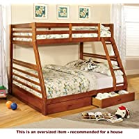 247SHOPATHOME IDF-BK588A Bunk-Beds, Full, Oak