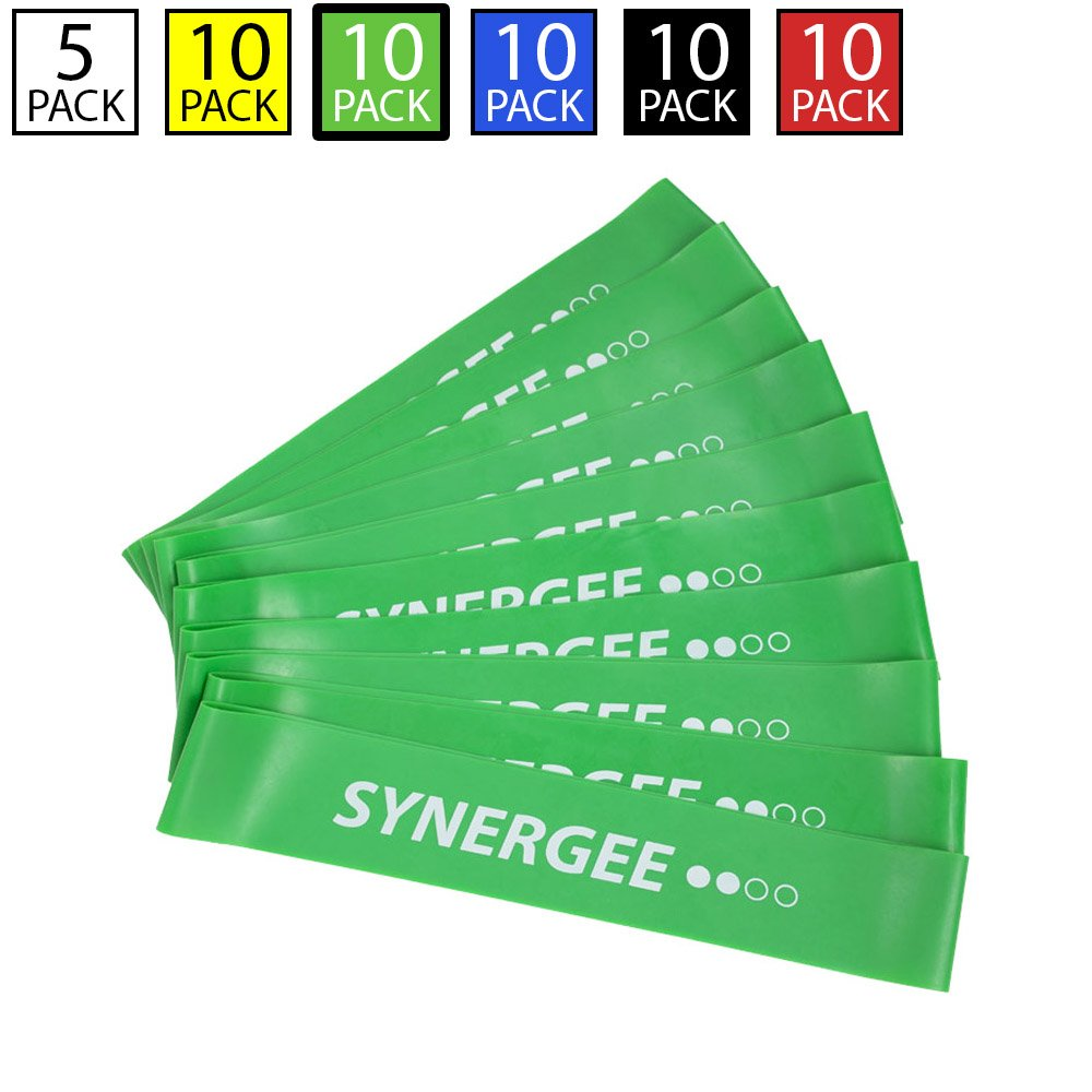 Synergee 10 Pack Mini Band Resistance Loop Exercise Bands Green Medium Resistance