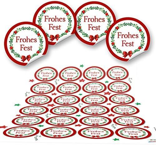 48 weihnachtliche Aufkleber rund ROT GRÜN weiß Weihnachtsaufkleber Verpackung Weihnachtsgeschenke