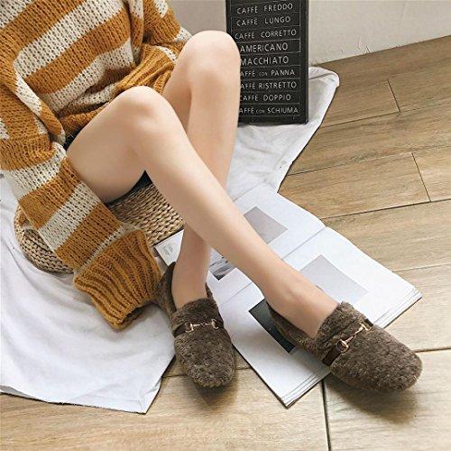 Boots Platform Flats Boots 2018Womens Khaki Loafers Snow Slip TM Winter Elevin Anti Soft Plush EFqwxx6vR