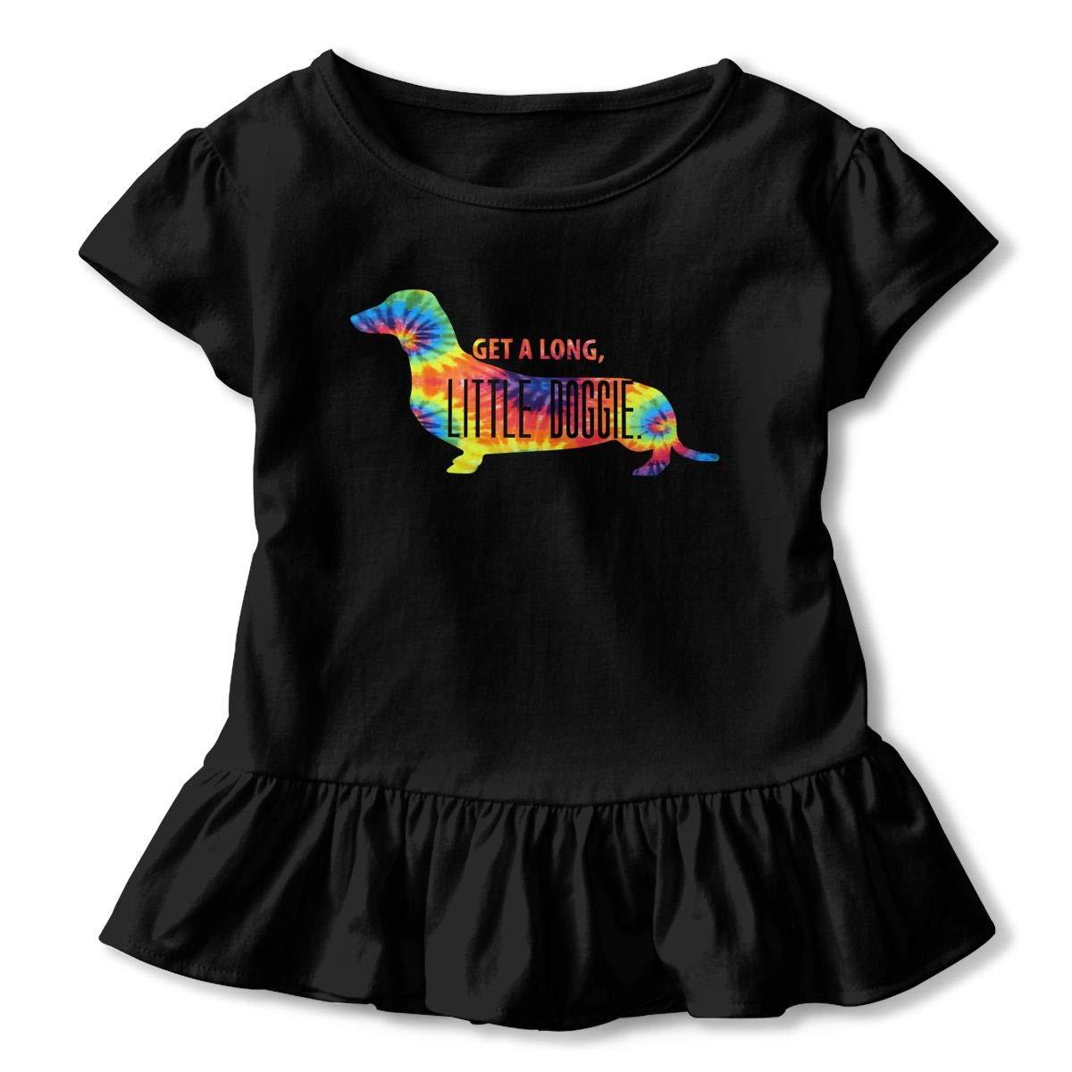 Cheng Jian Bo Doggie Tie Dye Daschund Toddler Girls T Shirt Kids Cotton Short Sleeve Ruffle Tee