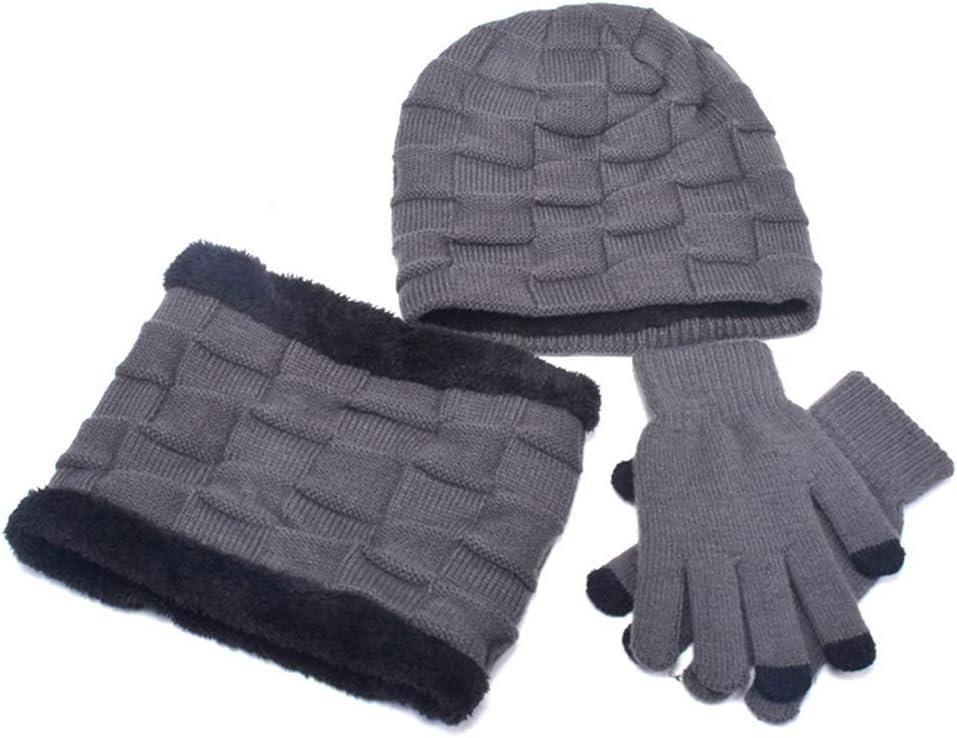 Unisex Thermal Winter Warm Knitted Beanie Hat Neck Glove for Men Women KADDGN Winter Beanie Hat Scarf Set