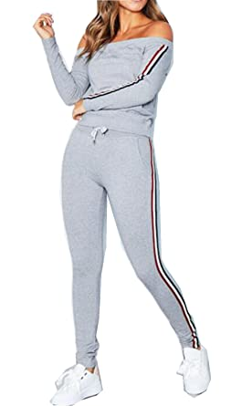 931cf4f2c2 ASSKDAN Women Tracksuit Sexy Off Shoulder Sweatshirt + Long Pants 2 Pieces  Set Sportsuit Casual Jogging Suit Lounge Wear