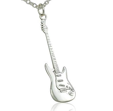 Grandes de plata de ley de Fender Stratocaster Guitarra eléctrica colgante y cadena del collar de