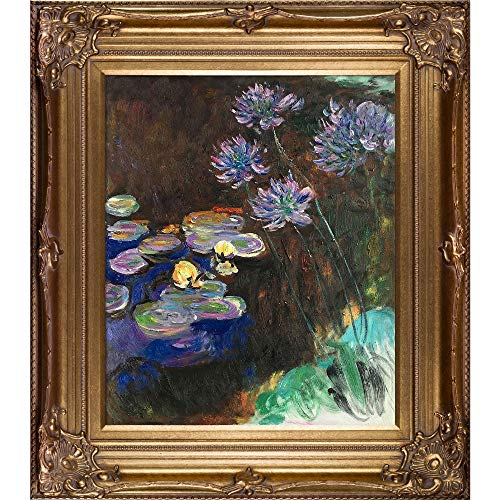 La Pastiche Water Lilies and Agapanthus Framed Oil Painting, 34