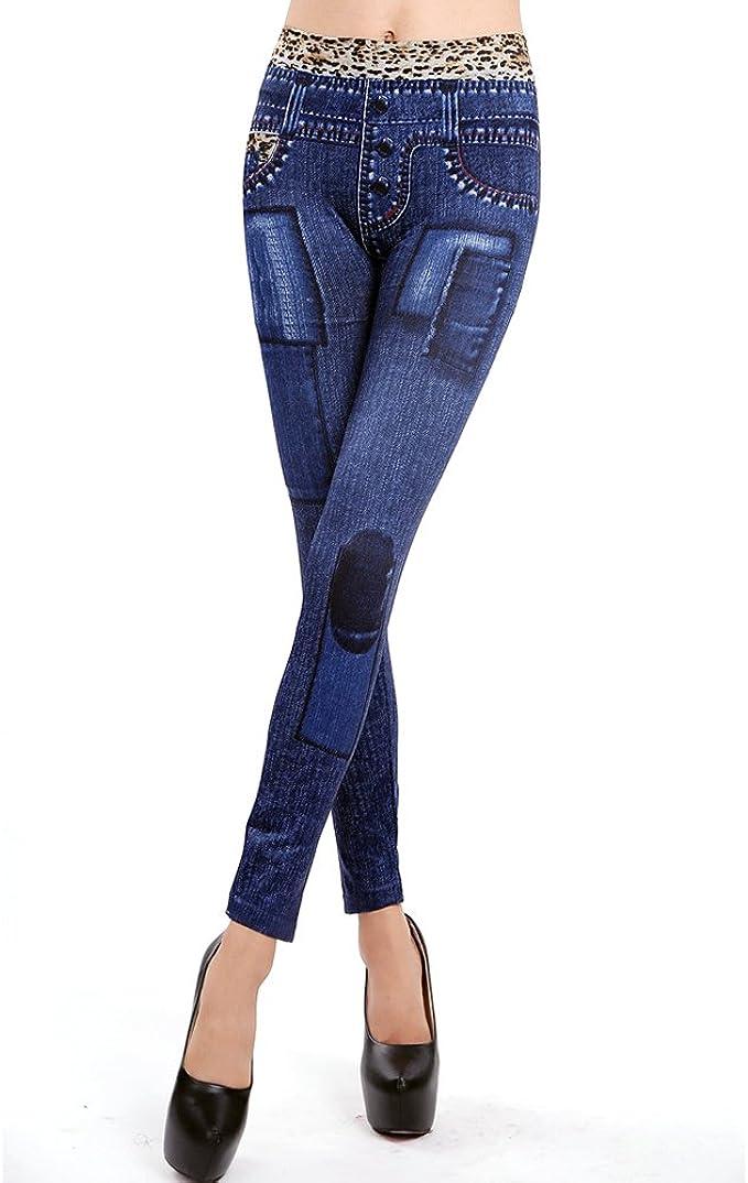 Ladies// Women Dark Blue Printed Denim Look  Skinny Pants Leggings// Jeggings