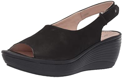 65715722dcd852 CLARKS Women s Reedly Shaina Wedge Sandal Black Nubuck 050 M US