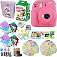 Fujifilm Instax Mini 9 Instant Camera + Accessory Kit, Includes: INSTAX Mini Instant Film (20 pack) + 120 Assorted Sticker, Plastic & Paper Frames + Photo Album + 4 AA Batteries + MORE