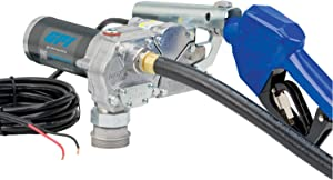 GPI M-150S Fuel Transfer Pump, Automatic Shut-Off Nozzle, 15 GPM Fuel Pump, 12' Hose, Power Cord, Spin Collar, Adjustable Suction Pipe (110000-100)