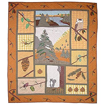 Patch Magic King Pinecone Quilt, 105-Inch by 95-Inch