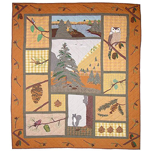 Pinecone Patch - Patch Magic Queen Pinecone Quilt, 85-Inch by 95-Inch
