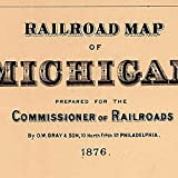 """RAILROAD MAP of MICHIGAN by O.W. Gray & Sons circa 1876 - measures 36"""" high x 24"""" wide (915mm high x 610mm wide)"""