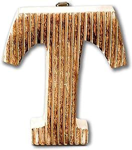 Kaizen Casa Natural Wooden Letter T Sign Hanging Decor Letter Beautiful Indian Art