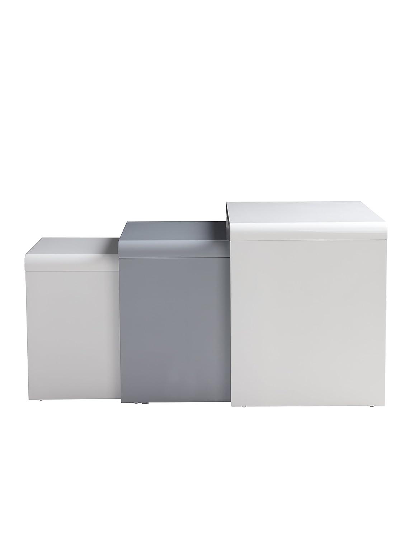 GOLDFAN Set di 3 Tavoline Salotto in Legno Moderno Lucido Tavoline da caff/è Laccato Bianco Multifunzione Tavoline Sovrapponibili Quadrato