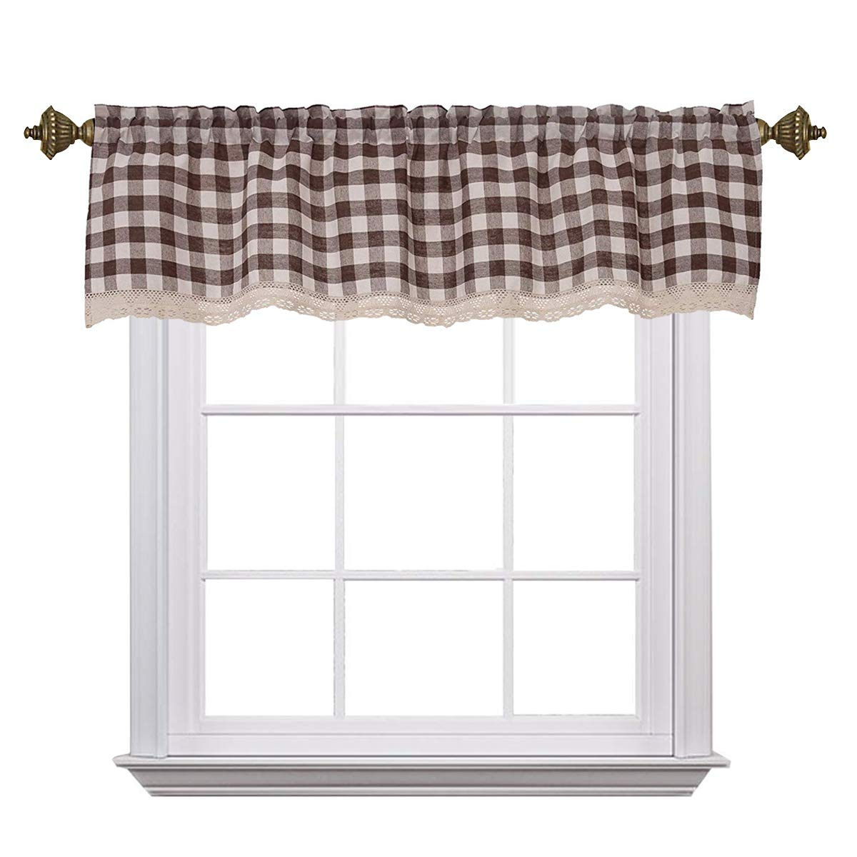 Curtain Valances for Windows Gingham Cotton Blend Window Curtains for Kitchen Living Dining Room 58 x 15 inches Rod Pocket 1 Plaid Valance Coffee