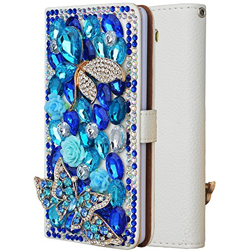 Spritech(TM) For Samsung Galaxy Note 3,PU Leather Wallet Phone Case 3D Handmade Bling Blue Crystal Design Flower Butterfly Decorated Sim Folding Protected Smartphone Cover with Card Slots