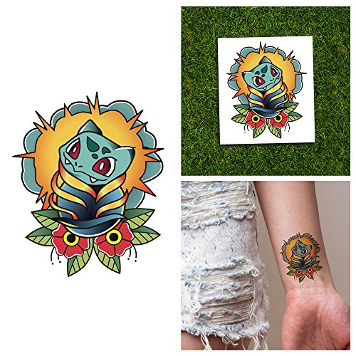 Bulbasaur Costume Ideas (Tattify Pokemon Go Temporary Tattoos - Bulbasaur (Set of 2) - Other Styles Available - Premium Quality and Fashionable Temporary Tattoos)