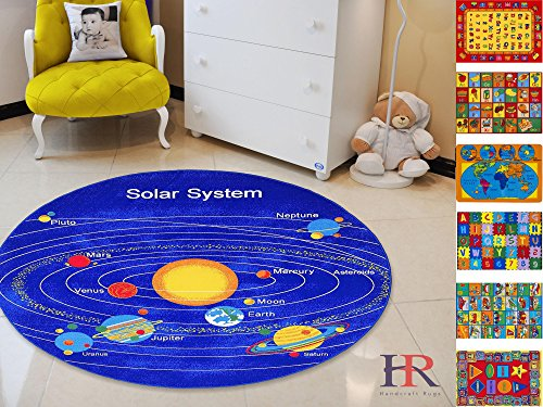 Handcraft Rugs- Round Kids Rugs Educational Classroom Rugs Non-Slip Rubber Back 7.7 ft. Round Solar System by HANDCRAFT RUGS