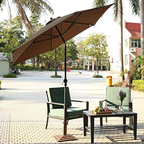 Homdox Ø2,75m 9FT Alu Gartenschirm Sonnenschirm Regenschirm Terrassenschirm mit Dreh-Kipp-Mechanismus Kurbelschirm Sonnenschutz UV-Schutz Rund faltbar tragbar (Kaffeebraun)