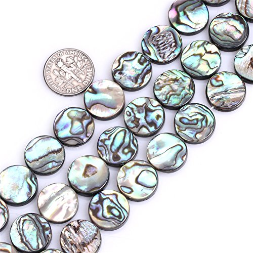 14mm Coin Natural Abalone Shell Beads Strand 15 Inch Jewelry Making Beads