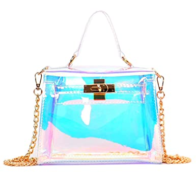 23b5ac5b091f Image Unavailable. Image not available for. Color  Holographic Transparent  Retro Bag Women s Clear Chain Cross Body Bag Shoulder Bag