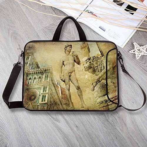 Italy Lightweight Neoprene Laptop Bag,Ancient Florence Art Collage Michelangelo David Renaissance Decorative Laptop Bag for Laptop Tablet PC,12.6