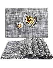 homEdge PVC Placemat, 4 PCS of Non-Slip Heat Resistant Place Mats, Washable Vinyl Placemats, Set of 4 – Gray