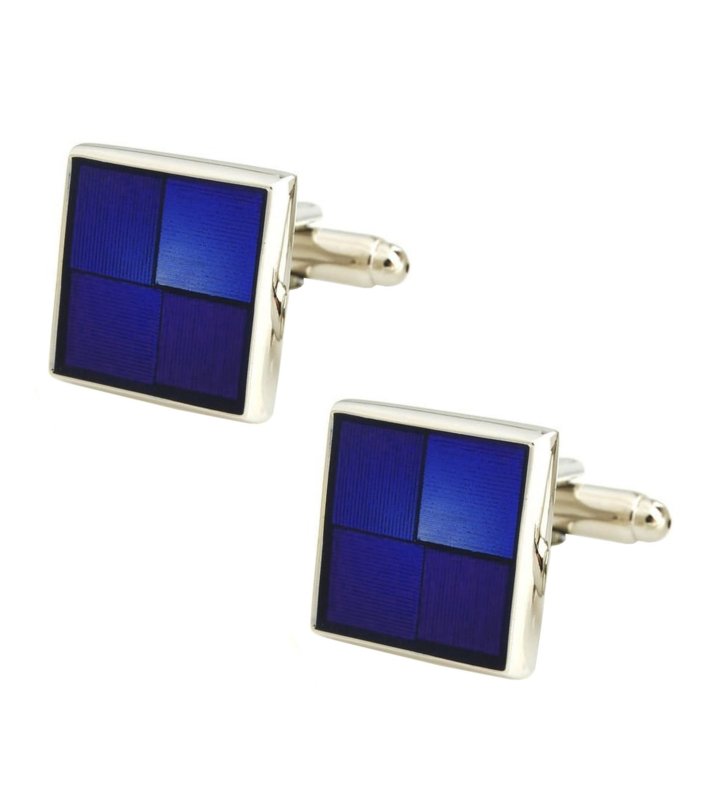 The Jewelbox 3D Square Blue Checks Checkered Enamel Brass Formal Shirt Blazer Suit Cufflinks Pair Men Gift Box