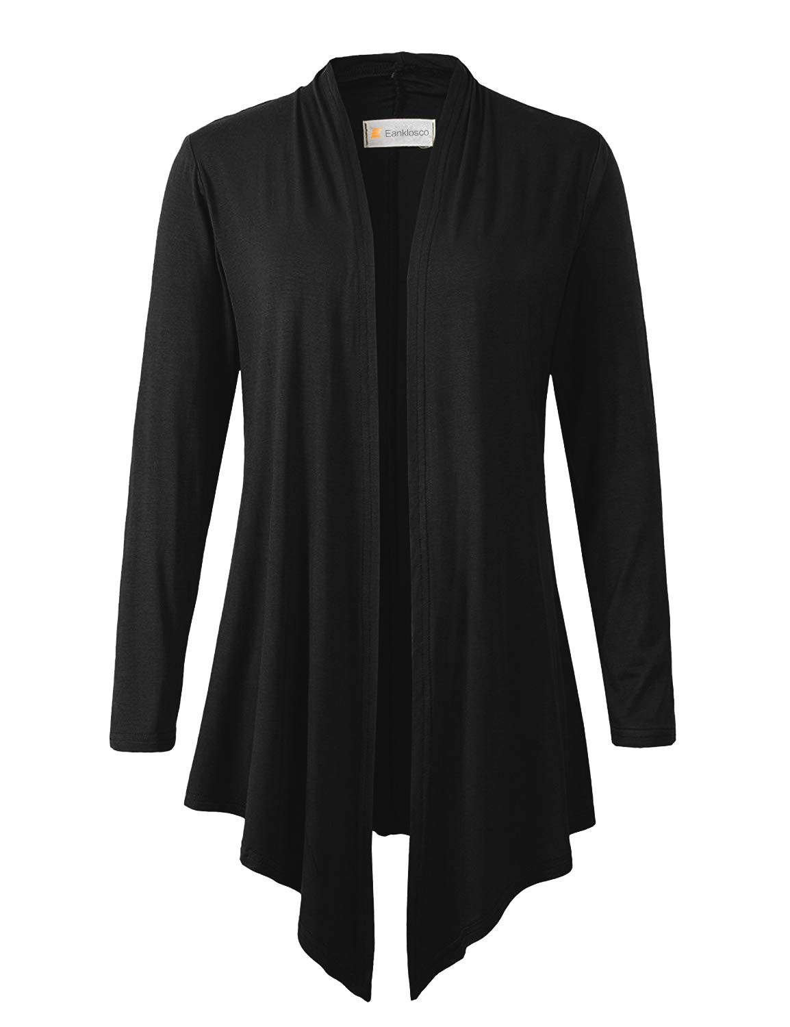 Eanklosco Women's Long Sleeve Drape Open-Front Cardigan Light Weight Irregular Hem Casual Tops (S, Black)