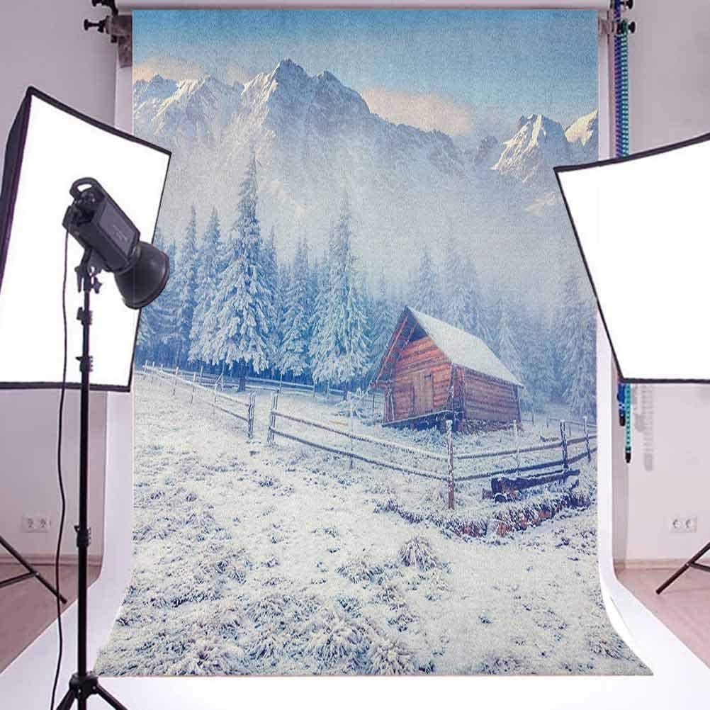 9x16 FT Winter Vinyl Photography Backdrop,Old Farmhouse in Snow Mountains and Frosted Forest Rustic Life Photography Background for Baby Birthday Party Wedding Graduation Home Decoration