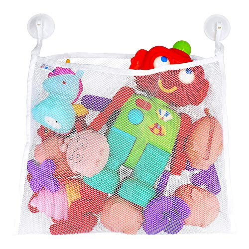 - Bath Toy Organizer - Includes Suction Cup Hooks + Adhesive Hooks + Tub Toy Mesh Bag
