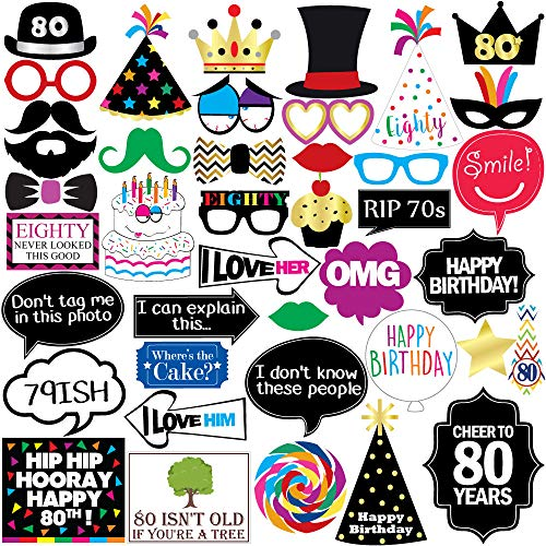 80th Birthday Photo Booth Party Props - 40 Pieces - Funny 80th Birthday Party Supplies, Decorations and Favors